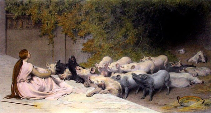 Circe_and_her_Swine-Briton_Riviere